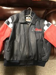 Budweiser Leather Racing Coat Size Xl
