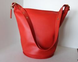 EXCELLENT Classic COACH Vermillion LARGE BUCKET DUFFLE SAC BAG HANDBAG 17998 A10