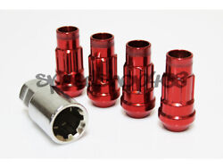 Z Racing Red 4 Pieces Locks Lug Nuts 12x1.5mm Open Extended Key Tuner