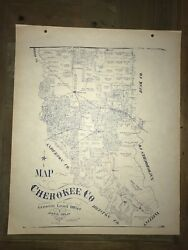 1902 Cherokee County Texas Map Land Office Austin Blue Line Antique Vintage