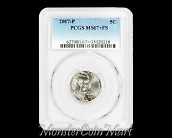 2017-p Jefferson Nickel Pcgs Ms67+ Full Step - Pop 1/0 Coin Finest For Date