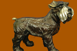 Handcrafted Detailed by Lost wax Method Schnauzer Terrier Bronze Sculpture Sale