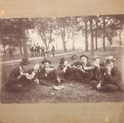 Vintage Photo 1930's Business Men Well Dressed Suits Ties Hats Eating Watermelon