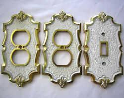 Vintage 3 Outlet Plate & Lightswitch Covers BrassGold & White Ornate Design SA