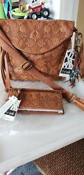 THE SAK SILVERLAKE CROSSBODYHOBO W WALLET FLORAL EMBOSS LEATHER NWT