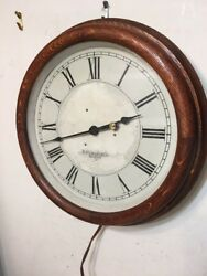Antique E Howard And Co Boston Oak Case Electric Gallery Wall Clock