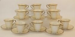 22 Pc Lenox Moonspun Porcelain White Floral Silver Rim Footed Cup And Saucer Set