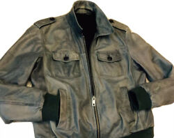 Vintage Russian Soviet Leather Jacket Of Bomber. The Effect Of Aging.