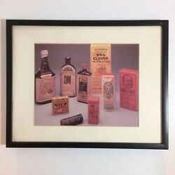 Vintage Framed Picture Of Pharmacist's Pain And Cold Medicine Bottles