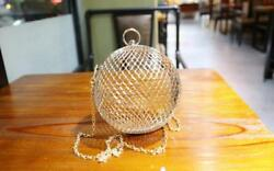 Hollow Metal Ball shoulder bag gold Cages Women Round Clutch Wedding Party Bag $22.79