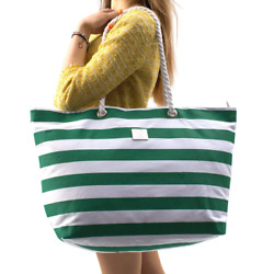 Large Canvas Beach Bag - Striped Tote With Waterproof Lining - Top Zipper Closur