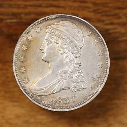 Raw 1837 Capped Bust 50c Circulated Reeded Edge Us Silver Half Dollar Coin