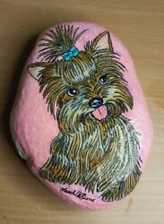 Artist Hand Painted Garden Rock Stone Cute Yorkie Yorkshire Terrier Dog 5