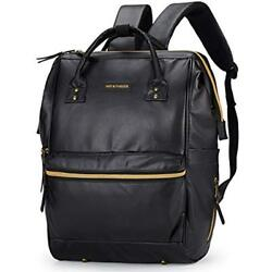 New Classic Diaper Bags Black Leather Baby Backpack Unisex Wide Open With Pad