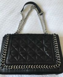 ZARA MESSENGER REAL LEATHER BLACK MAXI BAG LEATHER AND CHAIN STRAP