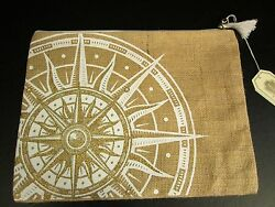 Aweigh We Go Jute Carry-All Case by Mud Pie Compass Design NWT $11.96