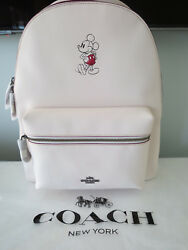 COACH DISNEY MICKEY MOUSE LARGE CHARLIE CHALK LEATHER BACKPACK-$550+ LIMITED ED