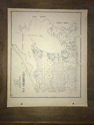 1922 Chambers County Texas Map Land Office Austin Blue Line Antique Vintage