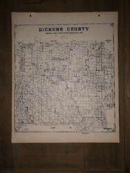 1915 Dickens County Texas Map Land Office Austin Blue Line Antique Vintage