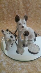 Bull Terrier Set of 2 Mommy & Puppies on Chain Figurines Brown Spot