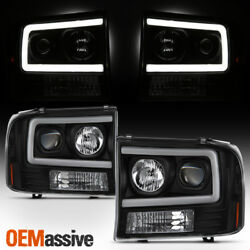 For 99-04 Ford F250 Super Duty / 00-04 Ford Excursion Projector Headlights Black