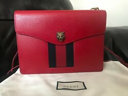 GUCCI Animalier Textured Red Leather Web Antique Gold Shoulder Crossbody Bag