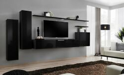 Shift 1 - Black Living Room Wall Unit / Entertainment Center For 55 Inch Tv