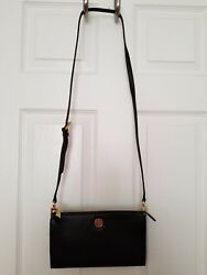 AUTHENTIC NWT TORY BURCH BRODY BLACK PEBBLED LEATHER WALLET CROSSBODY