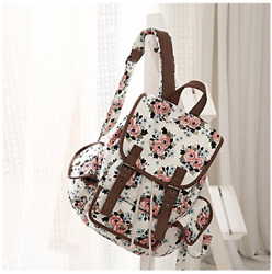 Middle School Backpack For Girls Kenox College Teenager Floral White Book Bag
