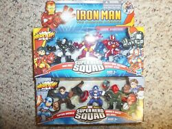 Marvel Super Hero Squad Figures- Battle At Red Skull Lair And Ironman 3 Pack
