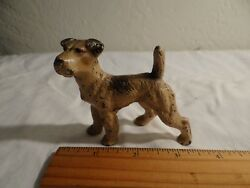 COLLECTIBLE MINIATURE CAST IRON TERRIER WITH TAIL UP