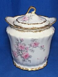 Rare Theodore Haviland Limoges China Pink Roses Double Gold Trim Biscuit Jar