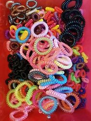 10 pcs. Colorful Gel Stretch Plastic Spiral Phone Cord Hair Ties Band Coil