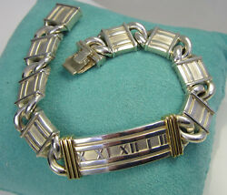 And Co Vintage Atlas Numeral Sterling 18k Yellow Gold Curved Link Bracelet
