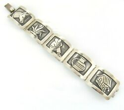 Damask Gallegos Marked Dg 925 Taxco Sterling Silver Overlay Picture Bracelet