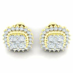 2ctw Round Genuine Diamond 18k Yellow Gold Earrings For Women Cluster Halo Stud