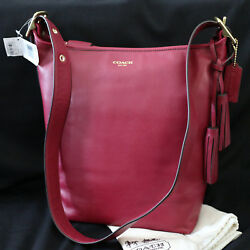 NWT COACH LEGACY Leather Duffle Bucket RED Deep Port Crossbody Purse Bag NEW