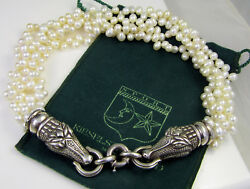 Vintage Barry Kieselstein Cord Sterling Silver Pearl Double Alligator Necklace