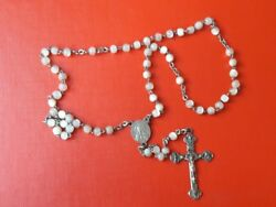 Antique Rosary Mother Pearl Beads Metal Cross Chalice Italy