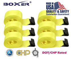 6 Boxer 4x30and039 Winch Strap W/ Flat Hook Flatbed Truck Tie Down 5400lb Us Made