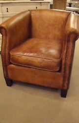 Antique Buffalo Distressed Top Grain Leather Accent Occasional Chair J
