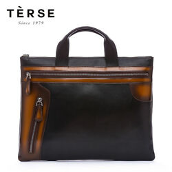 Terse Men's Fashion Genuine Italian Leather Patina Design Briefcase Slim Bag