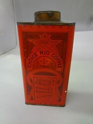 Vintage Advertising Choice Rio Coffee Tin Can Graphics Collectible 905-t