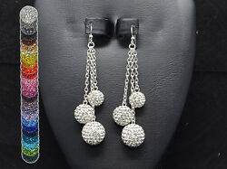 Crystal Pave Rhinestone Dangle Earrings 14mm 12mm And 10mm Beads
