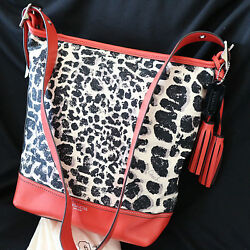 NWT COACH OCELOT Cheetah Duffle Bucket RedNat Crossbody Shoulder Bag Purse NEW