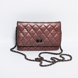 CHANEL Quilted Brown Bronze Wallet On Chain WOC Cross Body Chain Bag Handbag