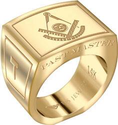 Mens Past Master 14k Yellow Or White Gold Freemason Masonic Ring Sizes 8 To 14