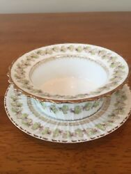 Limoge China Bowl And Saucer Featuring Light Green Vines Trimmed In Gold