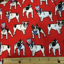 Red Cotton Flannel Fabric Boston Terrier Dog Quilting BTY By The Yard NEW