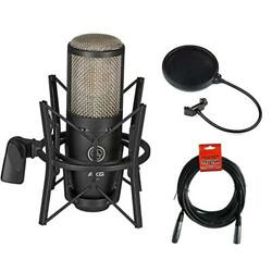 AKG Project Studio P220 Condenser Microphone w Pop Filter & XLR Cable